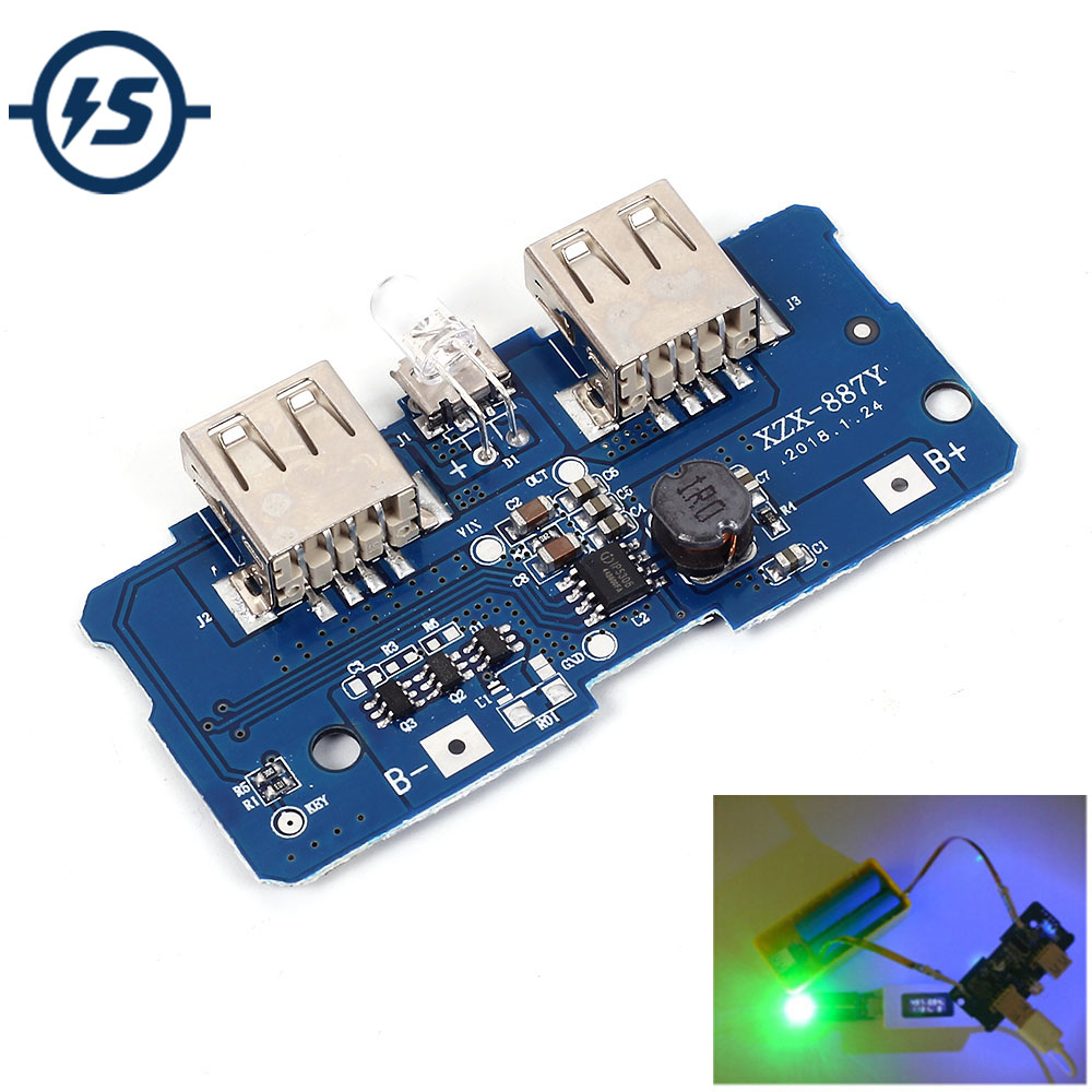5V 2A Power Bank Charger Board Charging Circuit Board Step Up Boost Power Supply Module Dual USB Output electronic component