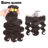 Soph Queen Hair Brazilian Body Wave Bundles With Frontal Remy Hair Natural Color Human Hair Bundles