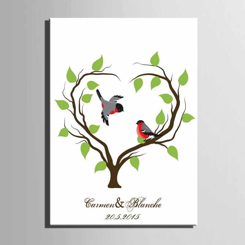 אישית חתונה טביעות אצבע עץ ציור ספר אורחים חתונה מתנות חתימת DIY טביעת אצבע ציור חתונה מזכרות