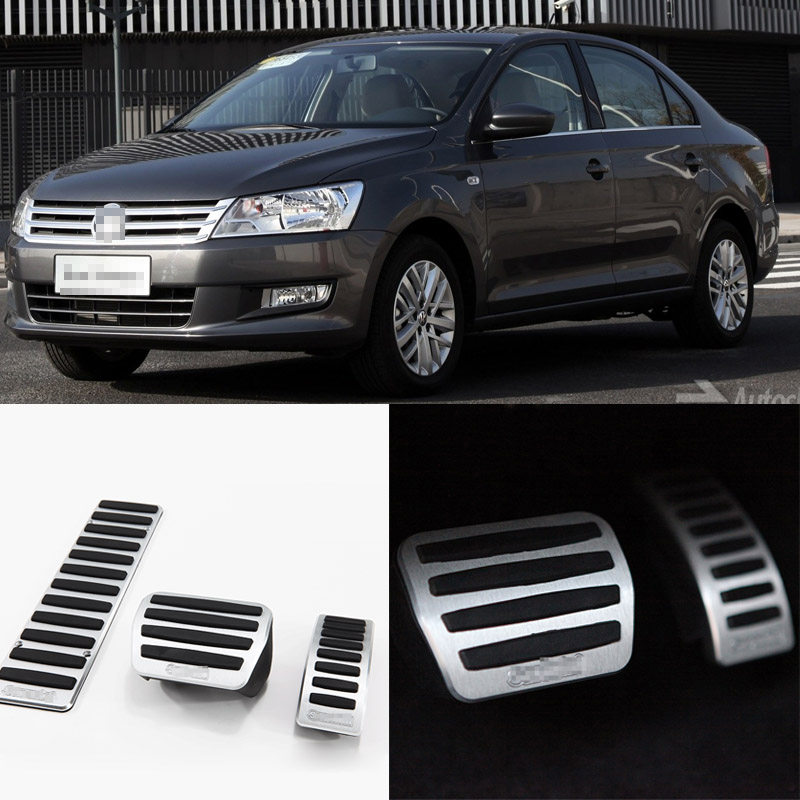 Brand New 3pcs Aluminium Non Slip Foot Rest Fuel Gas Brake Pedal Cover For VW Santana 2013-2016 AT brand new 3pcs aluminium non slip foot rest fuel gas brake pedal cover for audi q3 at 2013 2016