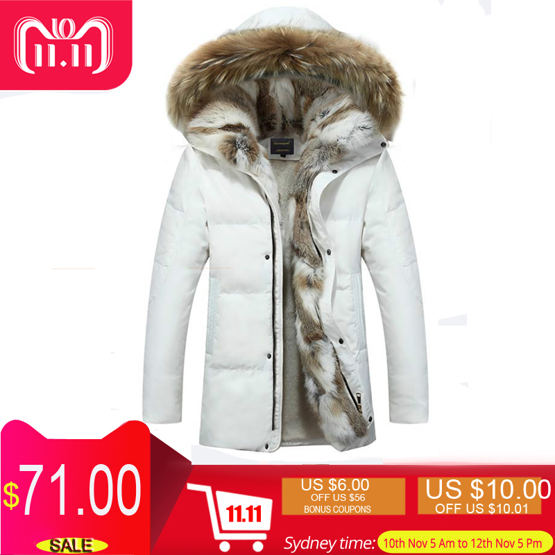 Rabbit Fur Collar Duck   Down   Jacket Men Winter Warm Thick   Down     Coat   Male Wool Liner Long Parkas Hooded Feather Hat Large Size 5XL