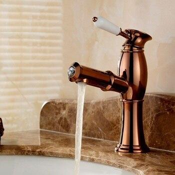 Vidric rose golden brass put out basin faucet Shampoo faucet hot and cold mixer taps porcelain handle with diamonds