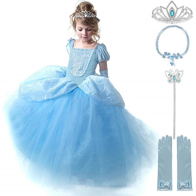 Girls Birthday Idea Cinderella Party Cosplay Costume Fancy Princess Kids Dress with Gloves Halloween Child Cinderella Tutu Dress in Dresses from Mother Kids