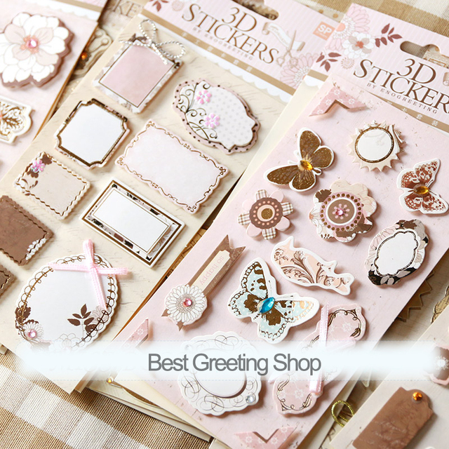 19 sets of creative scrapbooking 3D stickers,wholesale 19 designs vintage stickers for home decoration/scrapbook/DIY album