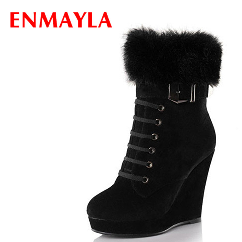 ENMAYLA Autumn Winter Women High Heels Rabbit Fur Ankle Boots For Women Wedges Platform Motorcycle Boots Shoes Woman enmayla ankle boots for women low heels autumn and winter boots shoes woman large size 34 43 round toe motorcycle boots