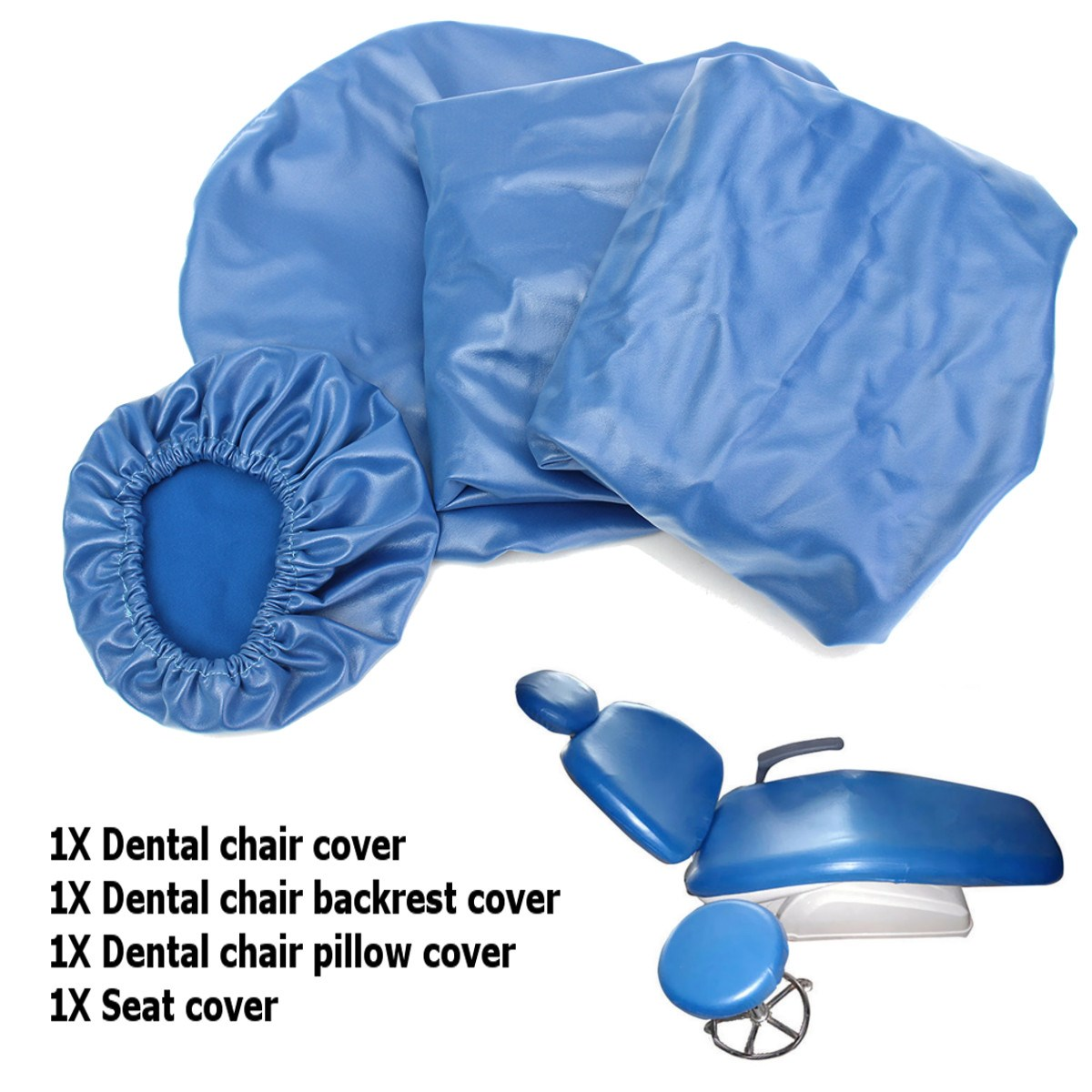 chair seat covers with elastic tall fishing 4pcs set dental pu leather unit cover