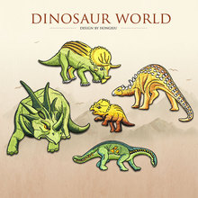1pc dinosaur embroidered Patches for Clothing iron on Embroidery Stickers Clothing Applique Decoration carton Badge dinosaurs 1pc landscape embroidered patches for clothing sew on tree embroidery parches for backpack clothing applique decoration badge