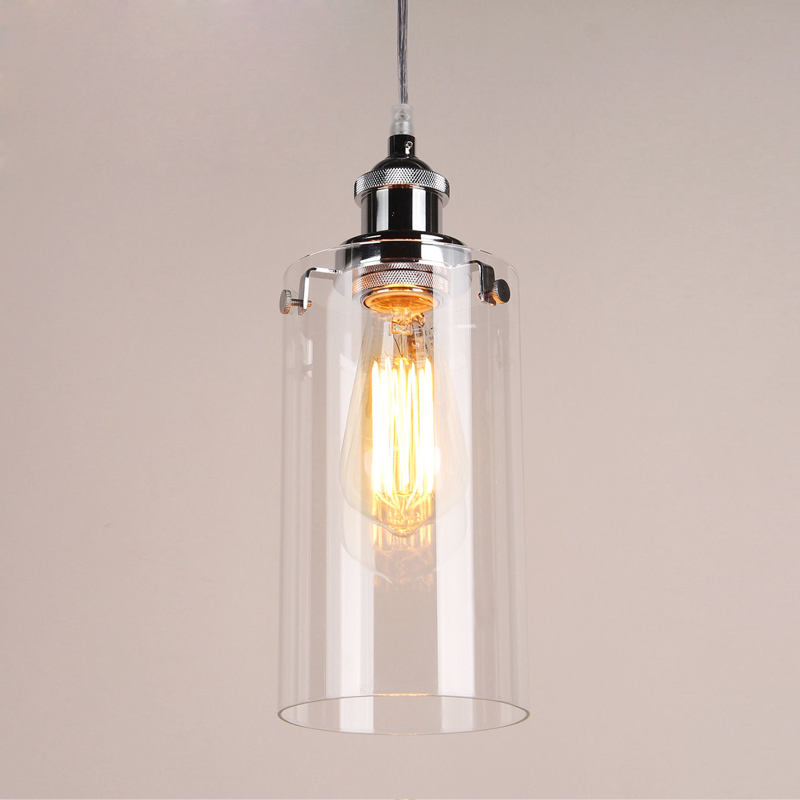 Vintage pendant lights Chrome Painted light holder clear glass pendant lamps used Edison bulb for Home DecoVintage pendant lights Chrome Painted light holder clear glass pendant lamps used Edison bulb for Home Deco