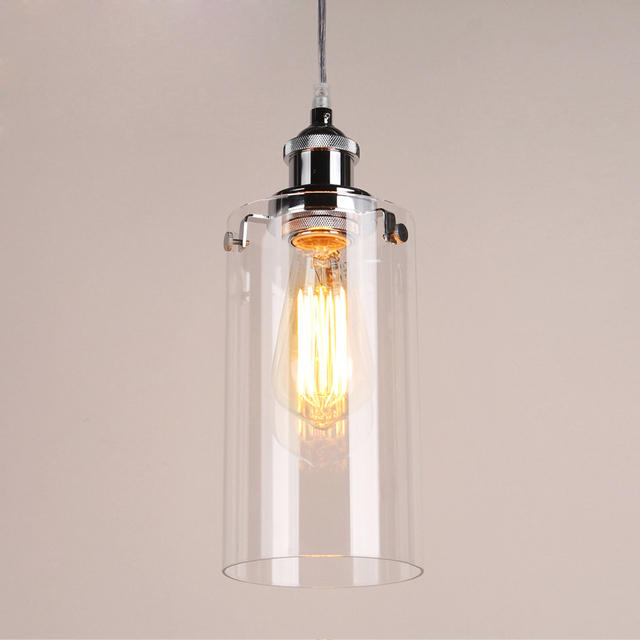 Vintage Pendant Lights Chrome Painted Light Holder Clear Gl Lamps Used Edison Bulb For Home