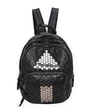 Женщины моющиеся PU кожаный рюкзак Simple Cam PU S школьные Soft кожаная сумка рюкзак мешок черный d8598fg5t