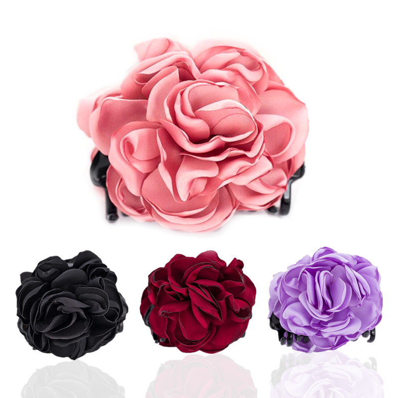 Red Rose Hair Clips   Headwear   Accessories for Women High Quality Fabric Flower Crab for Women Gifts HW194