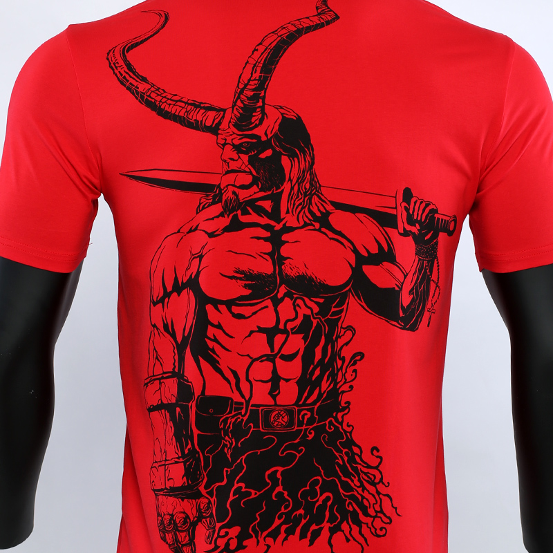 Hellboy3 T shirts Men Gym Clothing Shirt 2019 New Summer New Fashion Short Sleeve Tops Original HD hand painted For Male in T Shirts from Men 39 s Clothing