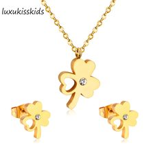 LUXUKISSKIDSHot Sale Bride CZ Jewelry Sets Flower with Heart Style Stainless Steel Set Women Wedding Jewelry(China)