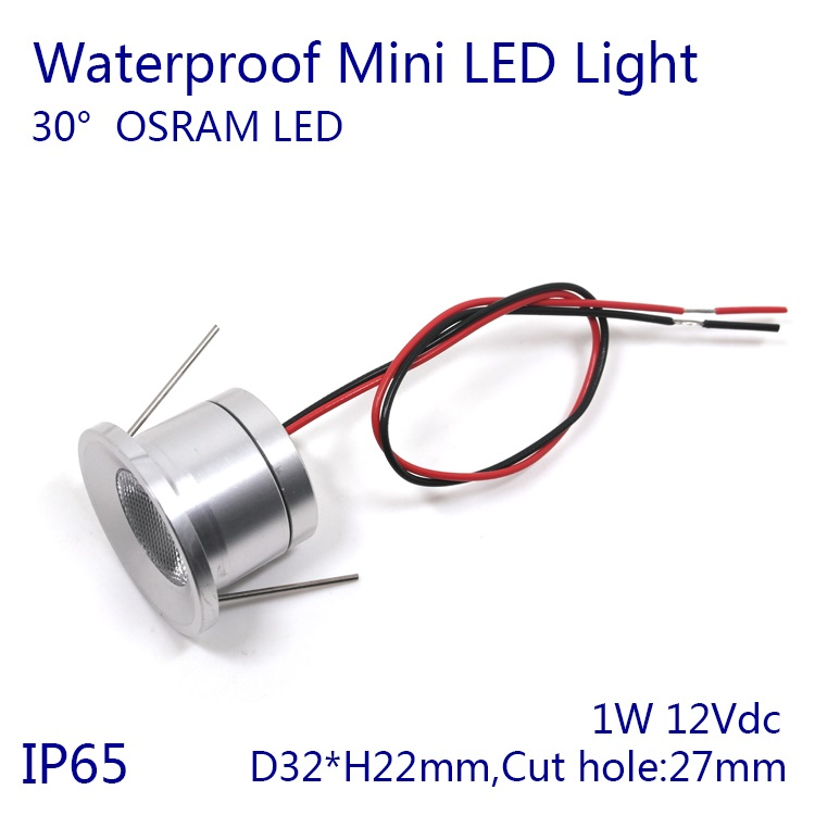 D32xh22mm/d32xh27mm IP65 Водонепроницаемый 1 Вт мини свет светодиодный встраиваемый светильник прожектор 30 градусов OSRAM LED чип для обеденная