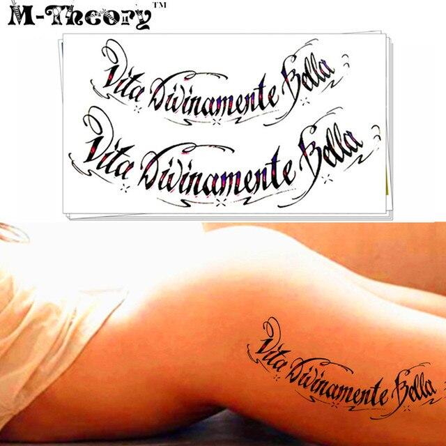 M-theory Temporary Fake Tattoos Body Arts -Divinely Beautiful Life- Italian Words Flash Tatoos Sticker 21x15cm Swimsuit Makeup