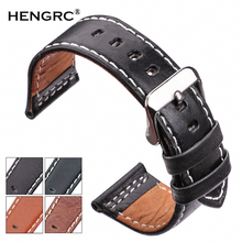 HENGRC Watchbands 22mm 24mm Black Blue Brown Orange Cowhide Watch Band Strap Silver Steel Watch Buckle Genuine leather Bracelet все цены