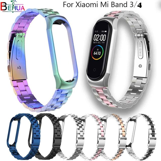 Mi Band 4 Replacement Metal Strap Wrist Strap Stainless Steel Bracelet Wristbands MiBand 3 strap for Xiaomi mi band 4+Metal Case
