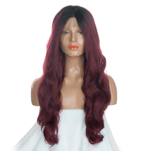 DLME Ombre Black To Dark Red Color Synthetic Hair Glueless Lace Front Wigs With Baby Hair