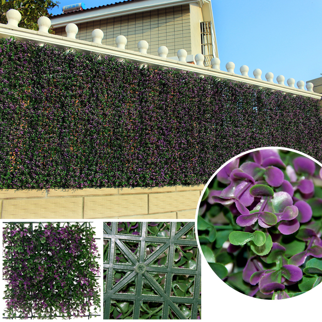 ULAND Decorative Artificial Long Purple Boxwood Hedges Panels Plastic Garden  Privacy Ivy Fence Mats Outdoor Indoor