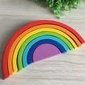Wooden Rainbow Baby Preschool Educational Blocks Toy Set Wooden Toys Room Decor