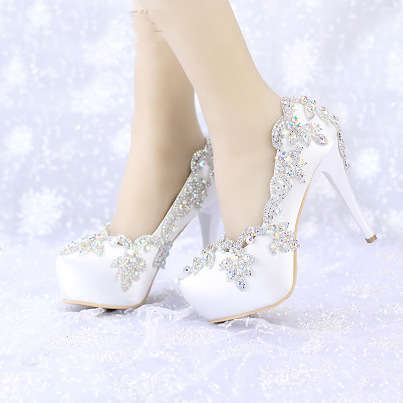 2018 Satin AB Color Crystal Round Toe Bridal Dress Platform Shoes