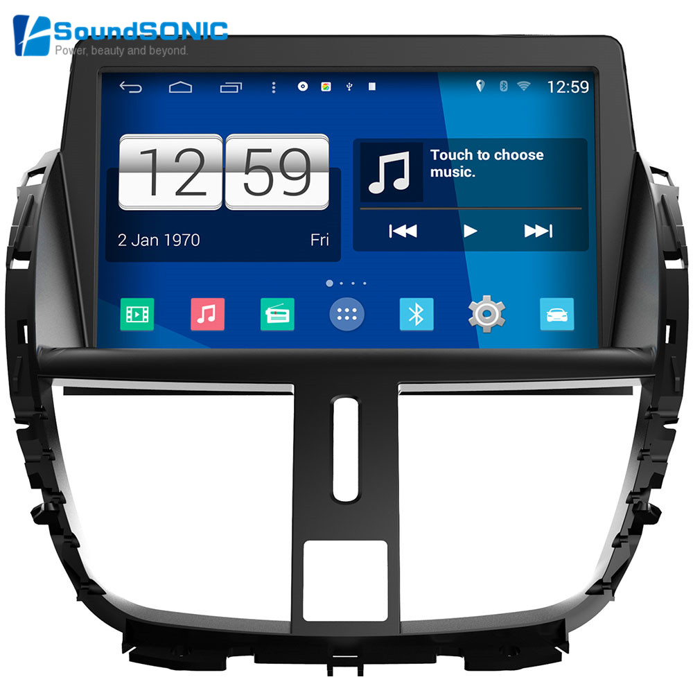 android 4 4 4 for peugeot 207 cc sw touch screen autoradio car media dvd gps navigation android. Black Bedroom Furniture Sets. Home Design Ideas