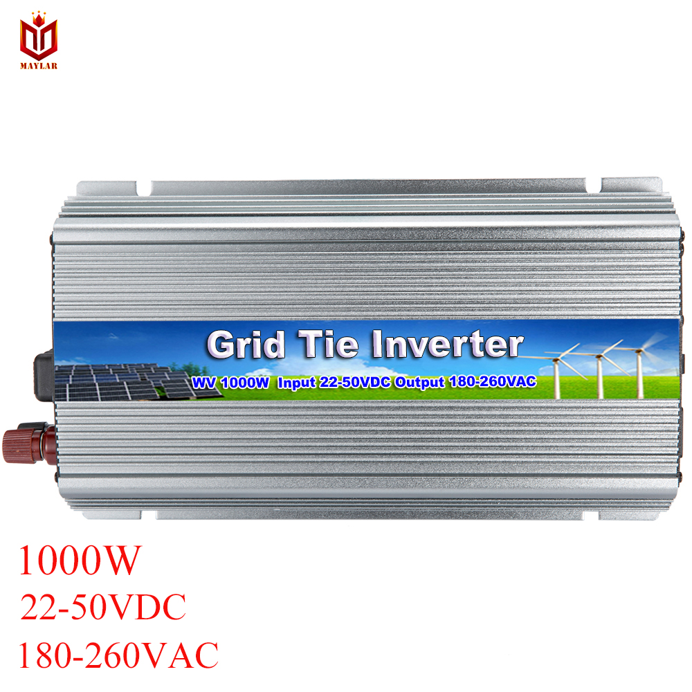 Maylar 1000 w 22-50vdc a 90-260vac onda senoidal pura grid tie micro inversor para vmp30v/36 v painéis solares, tomada de fábrica