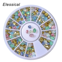 ELESSICAL Mixed Size Colorful Opal Nail Rhinestone Sharp Bot