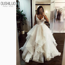 Graceful Tulle Puffy A Line Wedding Dress 2019 New Sweetheart Tiered Ruffles Sweep Train Dresses Gown Custom Made Plus Size