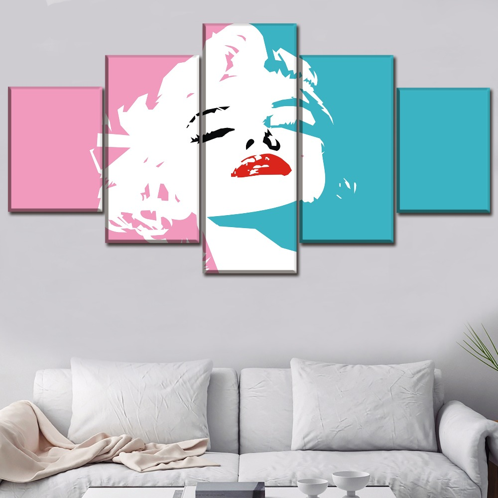 Wall Art Home Decor Framework Canvas Pictures 5 Piece Celebrity Marilyn Monroe Pink Paintin For Living Room HD Print Type Poster in Painting Calligraphy from Home Garden