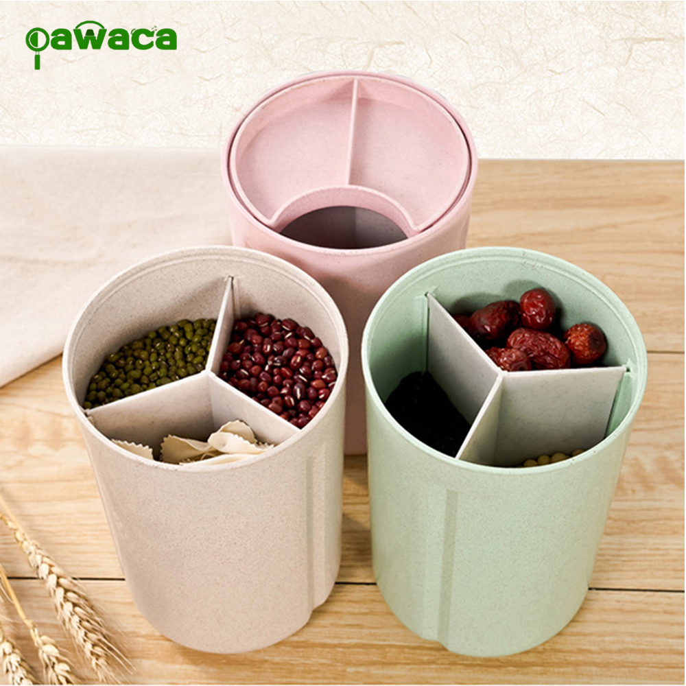 Removable Whole Grains Sealed Cans Container Food Storage Box High Capacity Multi-Compartment Wheat Straw Grains Storage Box