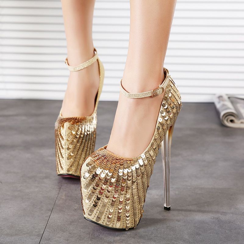 New Arrival 7 inch pumps Ankle Strap Closed Toe Platforms High Heels 19cm  Platform Gold Glitter Wedding Shoes-in Women s Pumps from Shoes on  Aliexpress.com ... 845bf4ff7a29