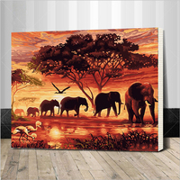 Framed Elephants Landscape DIY Digital Painting By Numbers Modern Wall Art Canvas Painting Unique Gift For