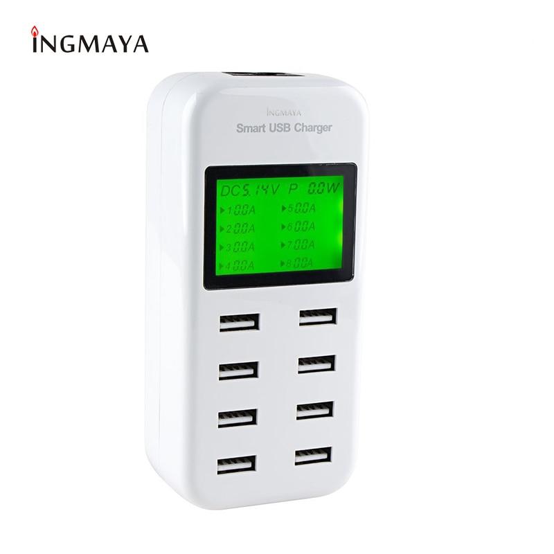 INGMAYA 8 Port USB Charger 5V8A LED Display Display լիցքավորման կայան iPhone iPad- ի համար Samsung Huawei Xiaomi Oneplus LG AC ադապտեր
