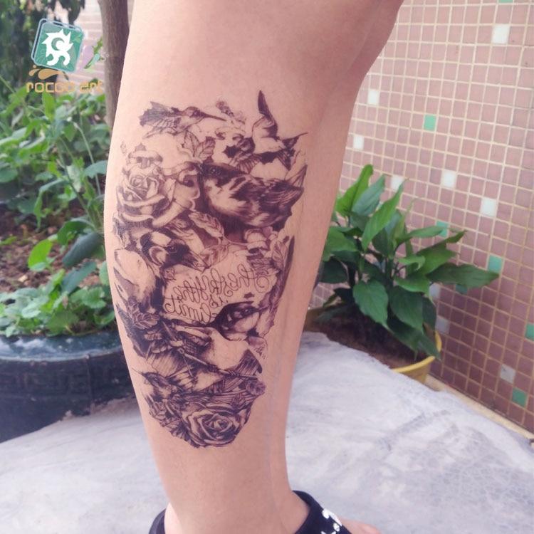 Rocooart Black Bird Tatouage Temporaire Femme Sketch Rose Taty