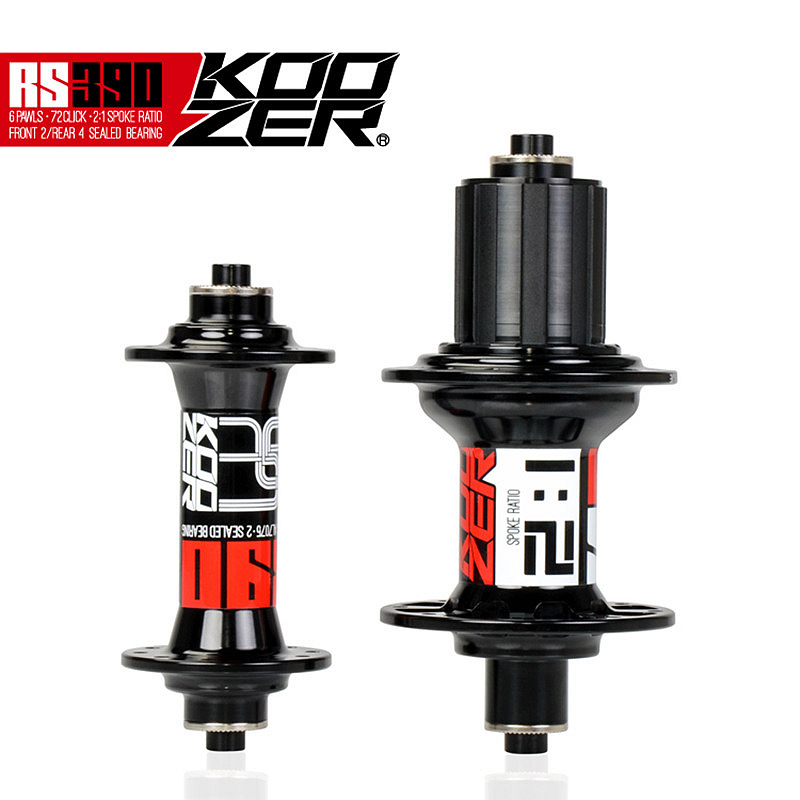 Koozer RS390 Front Rear Hub Set 2/4 Bearings 20/24 Holes 100 / 130mm Quick Release Ultralight 400g/pair Road Bike Hubs 2:1 Spoke