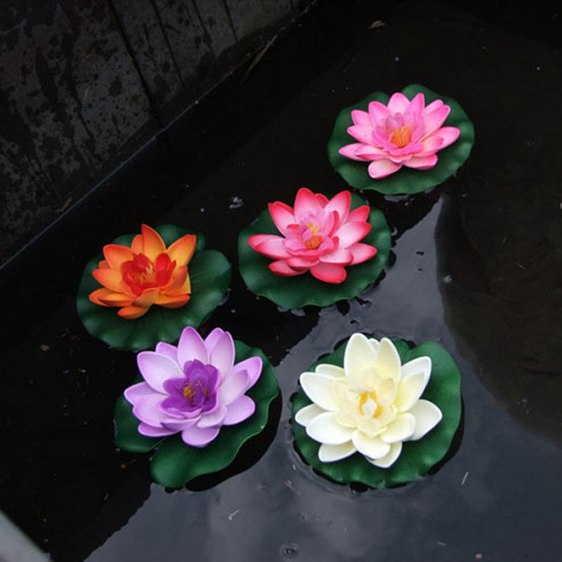 1 st Konstgjord Lotus Vattenlilja Flytande Flower Pond Tank Växtprydnad 10cm Home Garden Pond Party Decoration