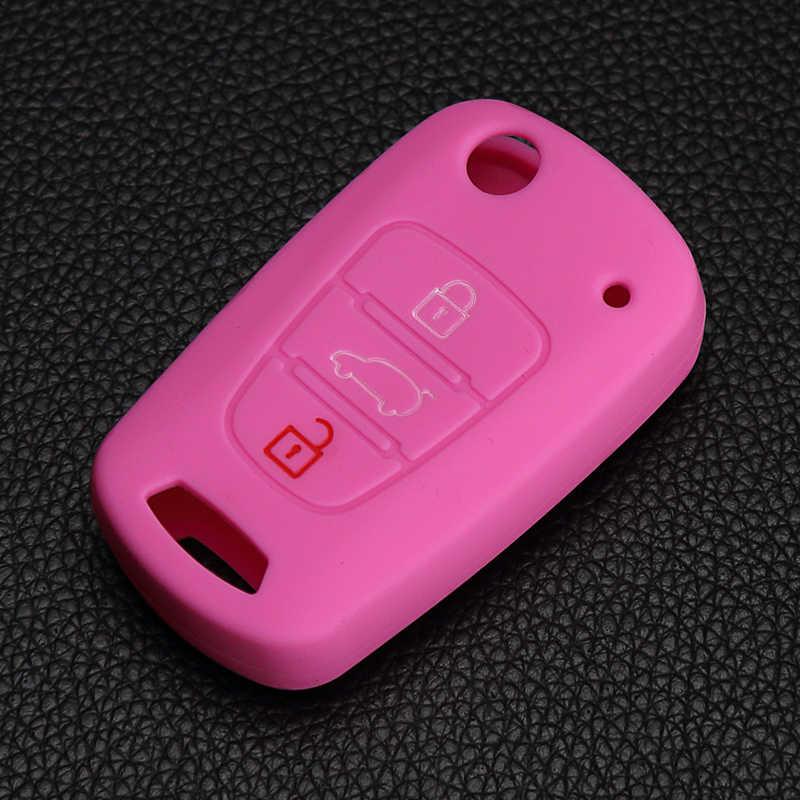 Klasik tasarım 3 düğmeler uzaktan çevirme durumda silikon anahtar koruyucu çanta Hyundai için Kia için i20 i30 i35 iX20 iX35 solaris Verna