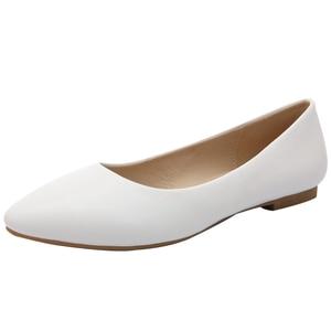 Image 3 - YALNN 2019 חדש נשים נעלי עור שטוח פלטפורמת עקבים נעלי לבן נשים הבוהן מחודדת עור ילדה דירות נעליים