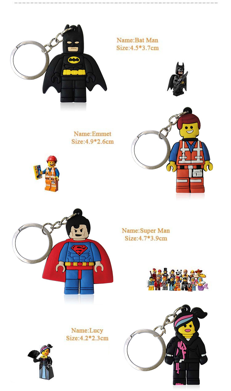 Image 2 - 100pcs Cartoon Figure Marvel Super Hero Key Chain PVC Anime Batman Key Ring Kids Toy Pendant Keychain Hulk Key Holder Xmas Gift-in Key Chains from Jewelry & Accessories