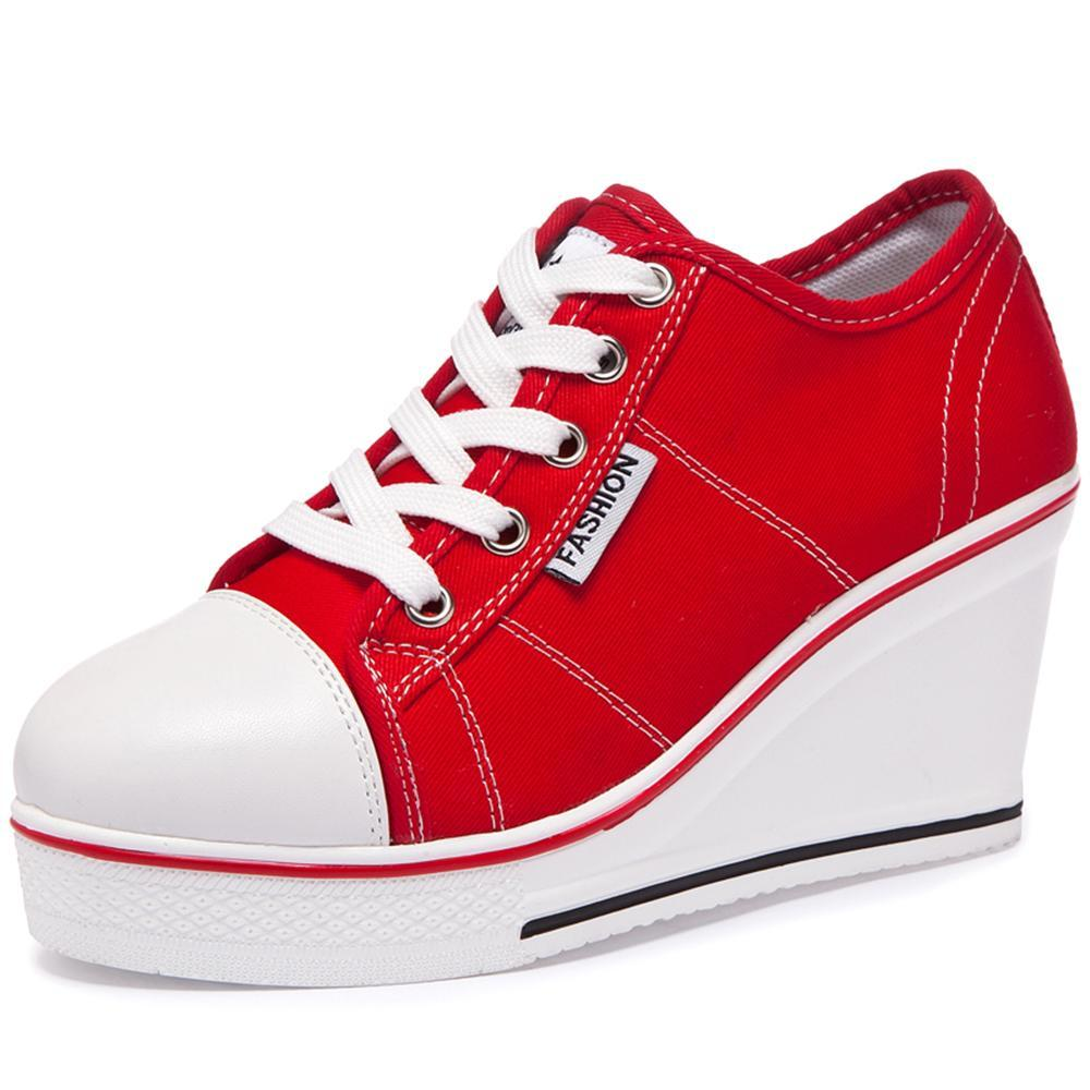 купить 2018 new Women Vulcanize Shoes Platform Breathable Canvas Shoes Woman Wedge Sneakers Casual Fashion Candy Color Students недорого