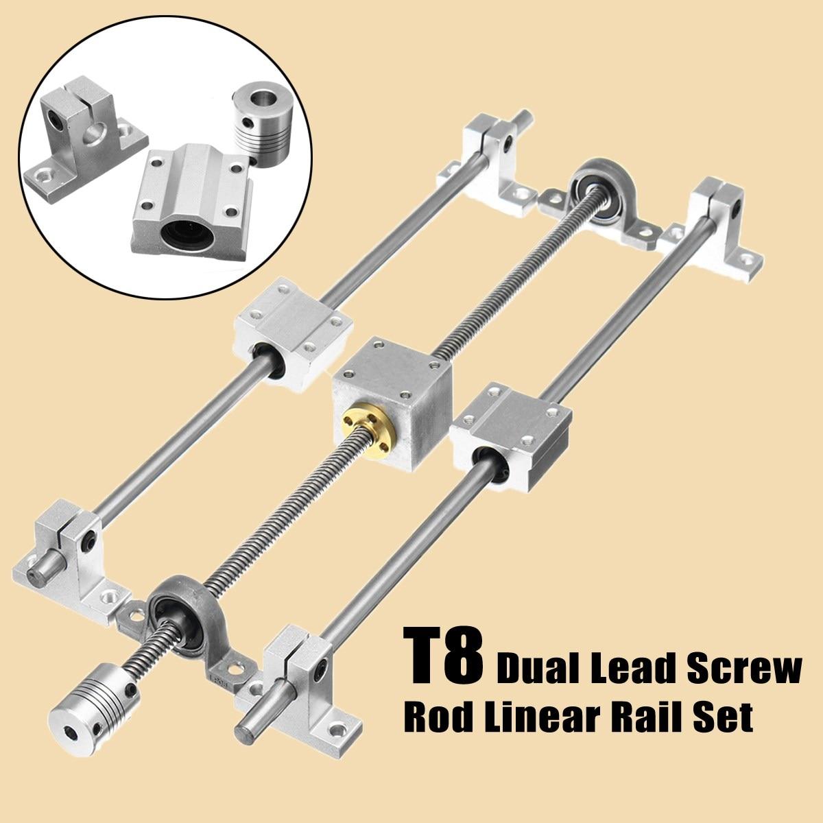 Horizontal Shaft 350mm T8 Dual Rail Lead Screw Rod Linear Coupling Support Guide & Lead Screw RodSetHorizontal Shaft 350mm T8 Dual Rail Lead Screw Rod Linear Coupling Support Guide & Lead Screw RodSet