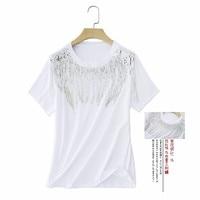 Cotton white t shirt women sequins diamonds streetwear camisetas verano mujer 2019 summer top ropa t shirt tshirt tee femme haut