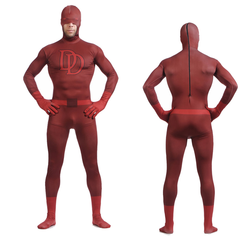 Daredevil Costumes Spandex Zentai Halloween Superhero Cosplay Men Sexy Costume Full Body Skin Tight Bodysuit