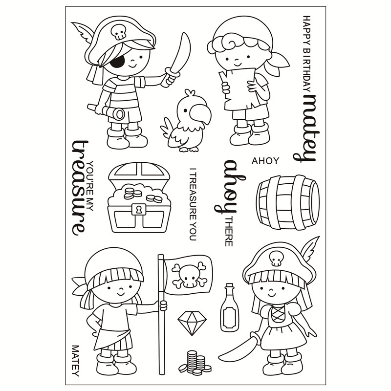 pirate Transparent Clear Silicone Stamp/Seal for DIY scrapbooking/photo album Decorative clear stamp sheets