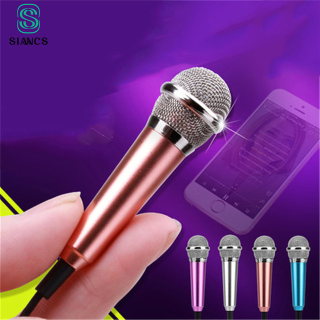 Aluminium alloy Mini 3.5mm Handheld Karaoke KTV Cellphone Microphone Wired Small Recorder Microphone for Cellphone Computer