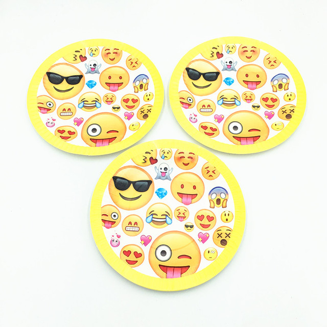 10 TEILE LOS EMOJI PLATTEN KIDS BIRTHDAY PARTY FAVORS PAPIER GERICHTE EINWEGGESCHIRR