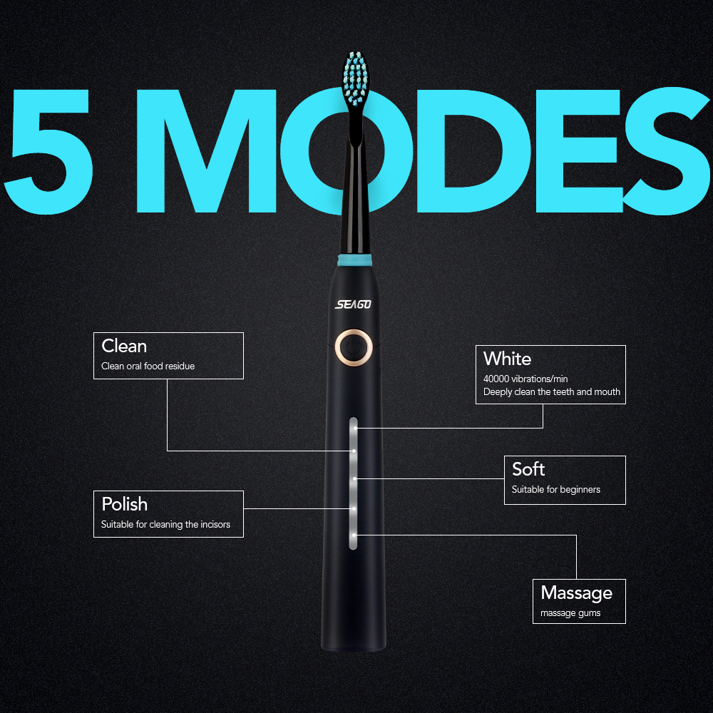 Aliexpress.com  Comprar SEAGO sonic cepillo de dientes eléctrico para  adultos temporizador USB recargable Ultra sonic cepillo de dientes  electrónico con 8 ... 803fc8805d10