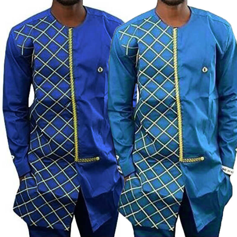 2018 African Traditional Style Clothes Men Dress Shirts African Dashiki  Traditional Print Long Sleeve Costume Bottom abfd69a61