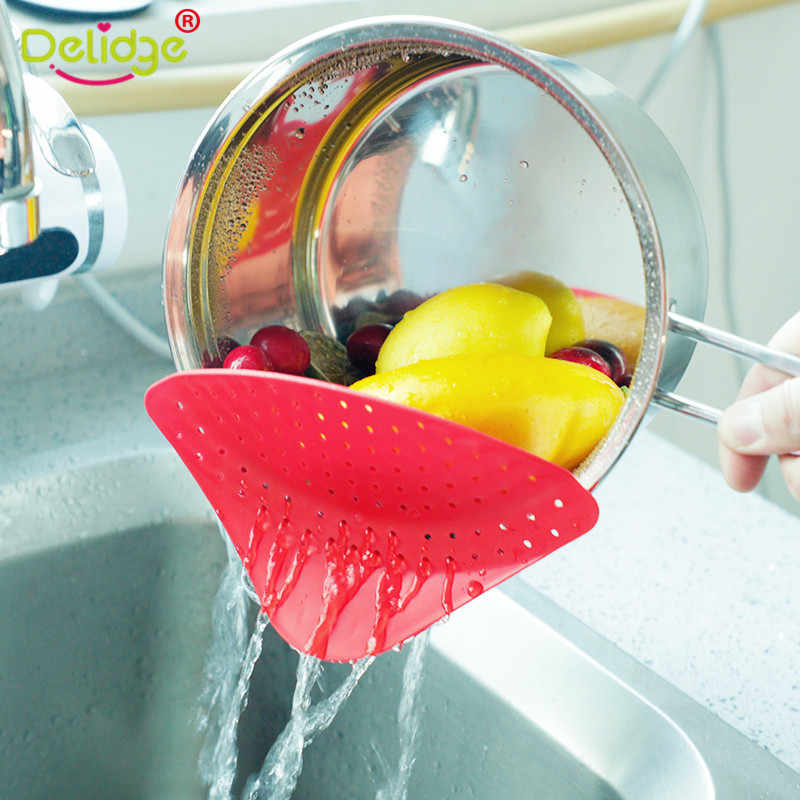 Delidge 1pc 2 Color New Colander Pot Strainer Clip On Silicone Colander Drain Tool Fits all Pots and Bowls Kitchen Cleaning Tool